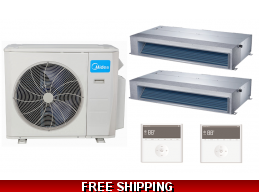 Midea 21 Seer 2×18000btu Mid-Static Ducted Mini Split Heat Pump AC