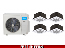 Midea 21 Seer 4×12000 Btu Ceiling Cassette Mini Split Heat Pump AC
