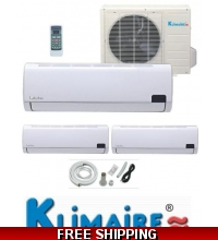 Klimaire Tri Zone 2x12000 Btu + 18000 Btu 16 Seer Mini Split Heat Pump AC