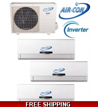 AirCon Tri Zone 2x12000 Btu + 9000 Btu 16 Seer Mini Split Heat Pump AC
