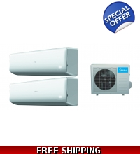 Midea 16.5 Seer 2x12000btu Dual Zone Mini Split Heat Pump AC