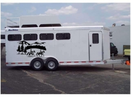 Horses & Landscape Border Horse Trailer Truck RV Camper Decal Stickers 22x40 2