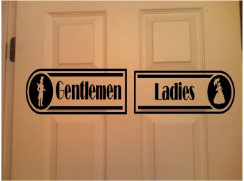 Restroom Sign Business Resturant Signs Sticker Ladies & Gentlemen Set of 2