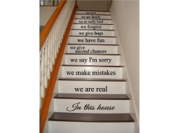 Large Stairs In This House Rules We Are Family Love Wall Sticker Decal