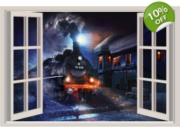 Locomotive Train Window View Repositionable Colo..