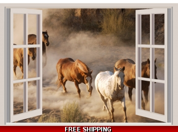 Horses Running Print Wall Sticker