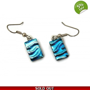 Dichroic Glass Earrings, Light Weight Textured, Surgical Steel Hooks
