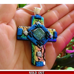 Dichroic Glass Cross Pendant includes necklace