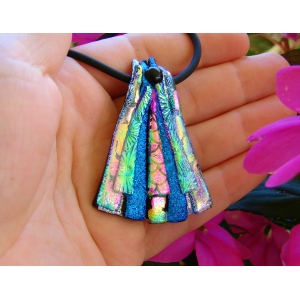 Dichroic Glass Slide Pendant, Triangle Picasso Style