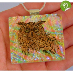 Owl Flamingo Dichroic Glass Pendant includes necklace