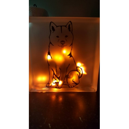 Shiba Inu 2 Sided Decorative Glass Block With Lights