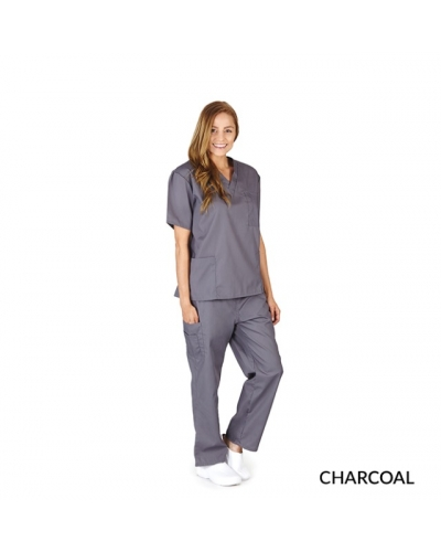 UNISEX SOLID V-NECK, CARGO POCKET SCRUB SET
