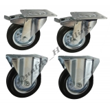 4 - 160mm Castors black rubber steel. ..