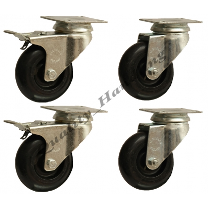 4 castors - 75mm black nylon 2 swivel & 2 swivel with brake 3""