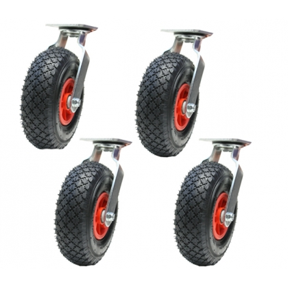 "4 - 10"" 260mm pneumatic castors swivel castors"