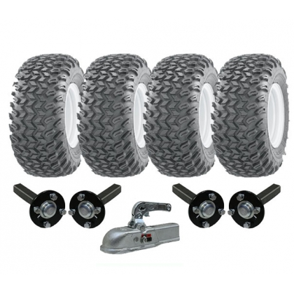 twin axle ATV trailer kit - wheels + hub & stub cast hitch 1800kgs