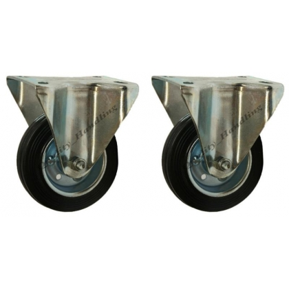 "2-100mm 4"" Black rubber fixed castors - heavy duty 100kg each"