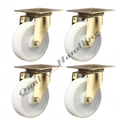 4 - 125mm stainless steel nylon swivel castors 200kg each heavy duty