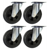 4 - 200mm Castors black rubber swivel ..