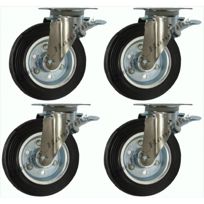 "200mm 8"" Waste bin castor braked set of 4"