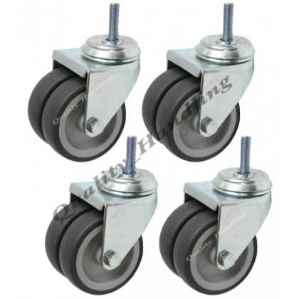 "4 - 75mm 3"" twin wheel rubber bolt hole swivel castors"