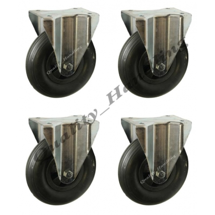 "4 - 8"" inch 200mm puncture proof fixed castors 200x50mm"