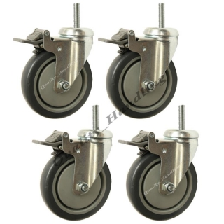 4 - 125mm bolt hole swivel braked cast..