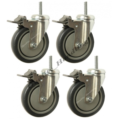 4 - 125mm bolt hole swivel braked castors with bolt fitting