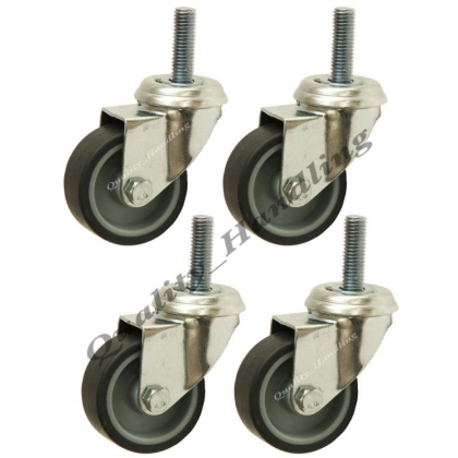 50mm 2 inch bolt hole grey rubber swivel castors, set of 4