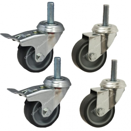 50mm 2 inch bolt hole swivel and braked castors, set of 4