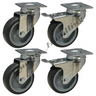 4 - 75mm Rubber 2 - Swivel Castors 2 -..