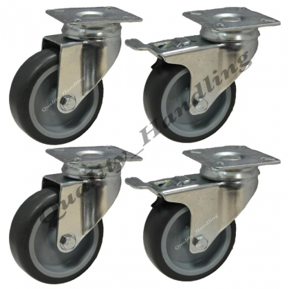 4 - 75mm Rubber 2 - Swivel Castors 2 -Braked Furniture Caster