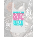 WHITE GIRL WASTED TEAL/PINK WHT TANK TOP