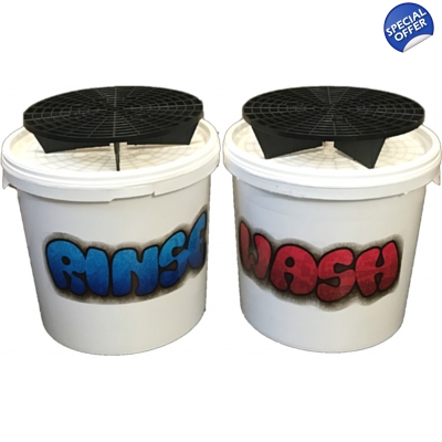 Wash & Rinse Two Bucket Set With Grit Guards Filter System title=