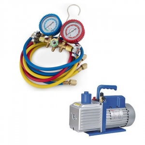 Single Stage - 3 CFM Vacuum Pump + R32 Manifold Gauges