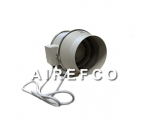 200mm Inline Airefco Fan with Power lead - Duct ..