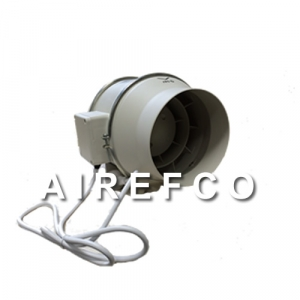 200mm Inline Airefco Fan with Power lead - Duct Fan