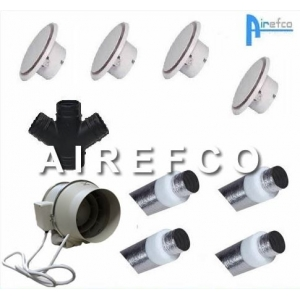 Four Room Transfer Kit - 200mm inline Airefco Fan