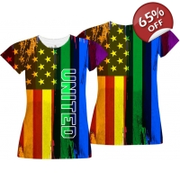 Gay Pride Girls T-shirt - US Flag..