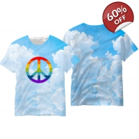 Gay Pride T-shirt - Peace Sign Ga..