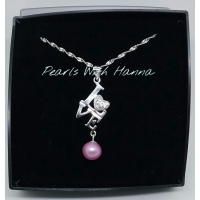 Pre-set Love pendant with pink pearl.