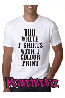 100 White Screen Printed T Shirts