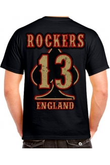 Rockers England BIG 13 Back Print T Shirt - Free Uk P&P