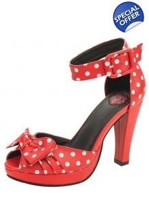 TUK Red & White Polka Dot Peep Toe Starlet High Heel Shoe UK P&P Inc