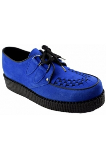 Supercool Blue Suede Shoes, Single sole suede creepers, free UK P&P