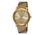 Burberry BU1398 Gold Dial Check Strap Women's Wa..
