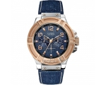 Guess W0040G6 Rigor Rose Gold Denim Gents Watch