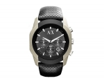 Armani Exchange Chronograph Black Dial Black Lea..