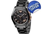 Armani Black Round Dial ar1410 Ceramic Case Men'..