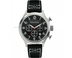 Nautica A14696G Man Black Leather Strap Chronogr..